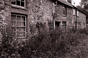 Derelict cottages in England
