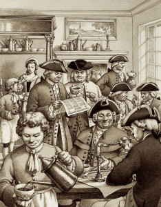 Typical London coffee house in the 18th century